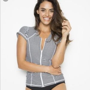 Bondeye Striped Zip Up Rash Guard Swimsuit Top